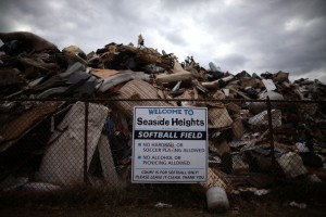 Trash from damages done by Superstorm Sandy is piled up in the Seasside Heigh softball field,