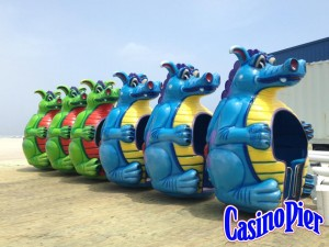 Dizzy Dragons lined up while the ride is built